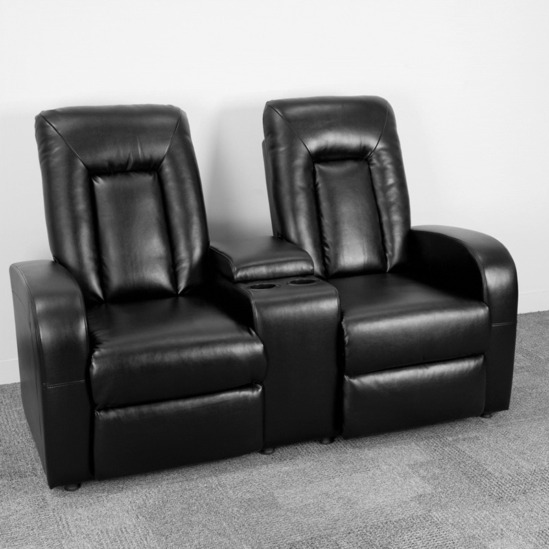Flash Furniture Black Leather 2 Seat Home Theater Recliner With Storage Console Bt Hover To Zoom