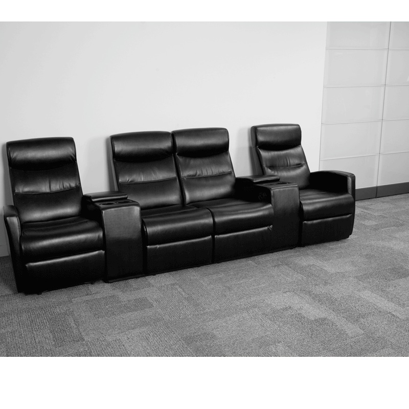 Flash Furniture Black Leather 4 Seat Home Theater Recliner With Storage Consoles Bt Hover To Zoom