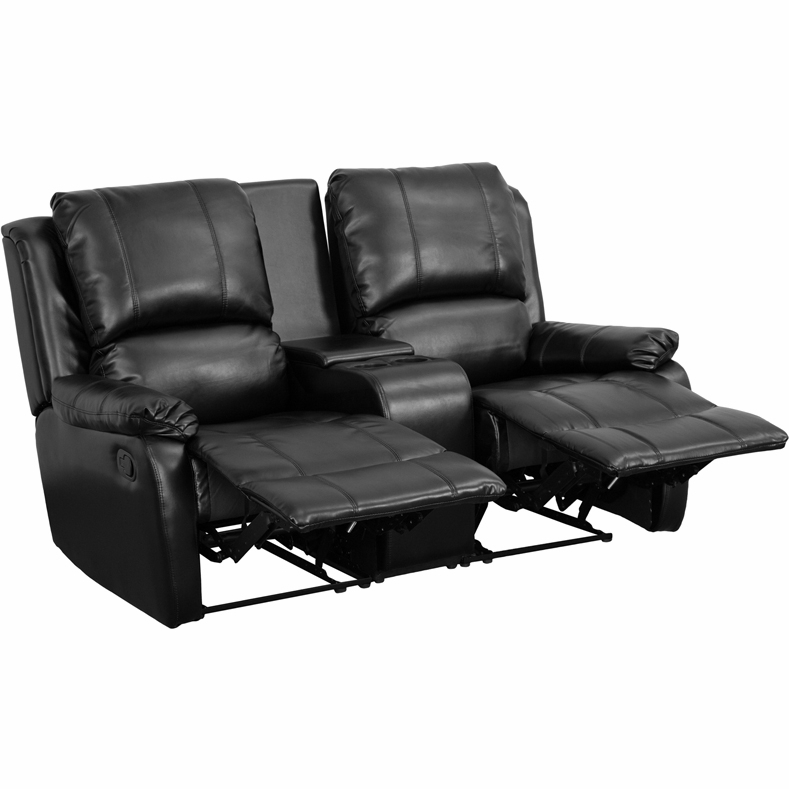 Flash Furniture - Black Leather Pillowtop 2-Seat Home Theater Recliner With  Storage Console - BT-70295-2-BK-GG