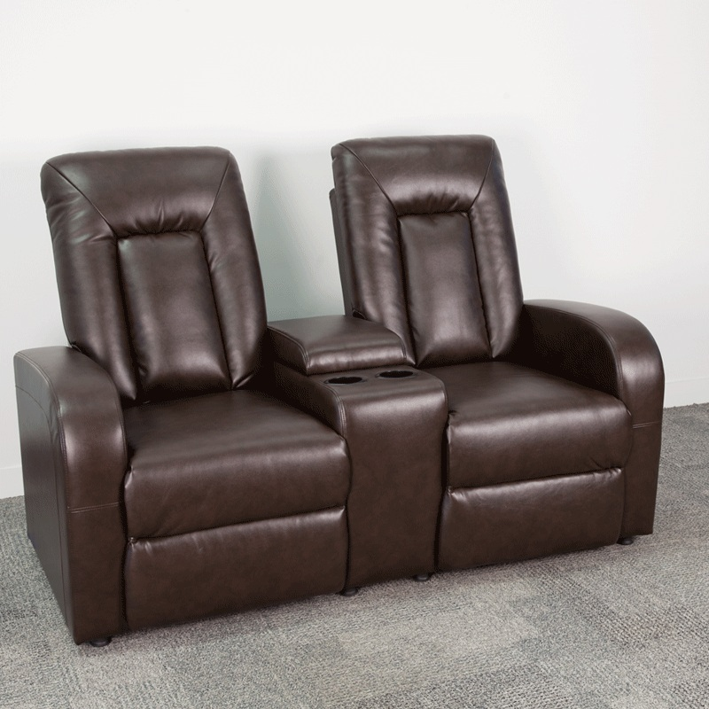 Flash Furniture Brown Leather 2 Seat Home Theater Recliner With Storage Console Bt 70259 Brn Gg