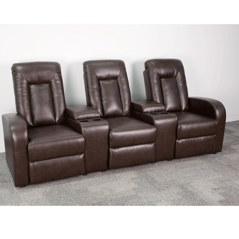 Flash Furniture - Brown Leather 3-Seat Home Theater Recliner With Storage  Consoles - BT-70259-3-BRN-GG