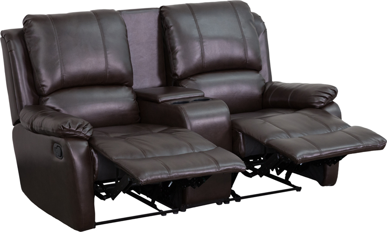 Flash Furniture Brown Leather Pillowtop 2 Seat Home Theater Recliner With Storage Console Hover To Zoom