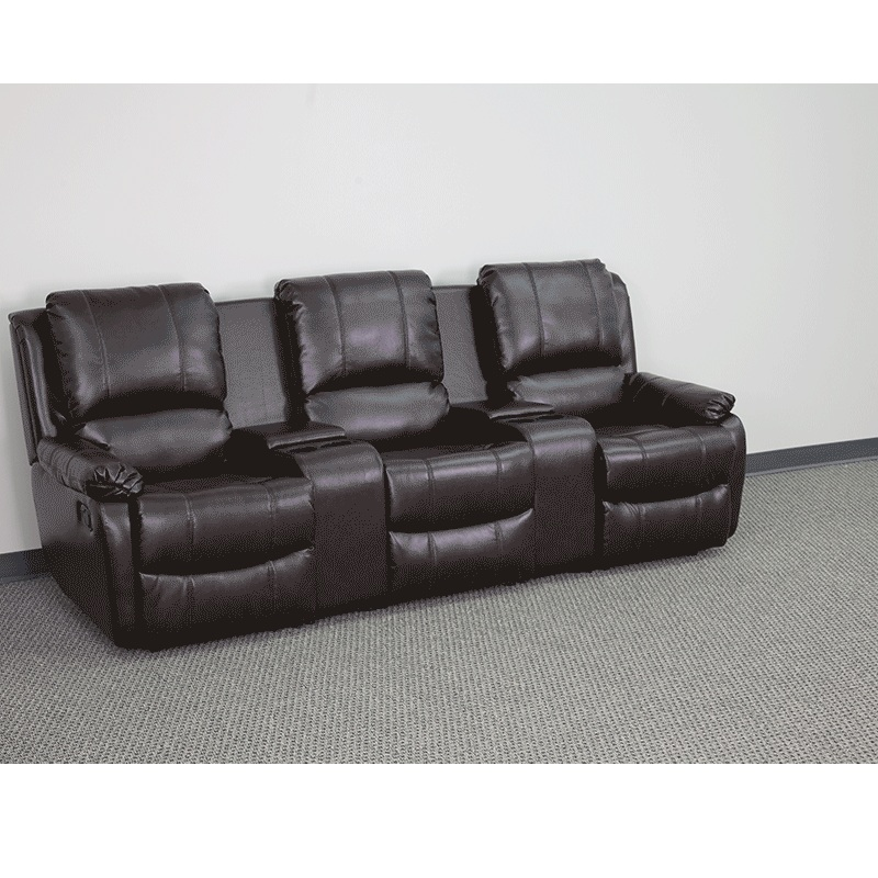 Flash Furniture Brown Leather Pillowtop 3 Seat Home Theater Recliner With Storage Consoles Hover To Zoom