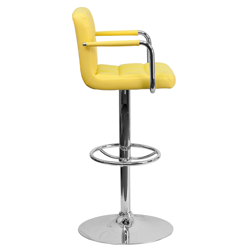 Outstanding Flash Furniture Contemporary Yellow Quilted Vinyl Adjustable Height Bar Stool With Arms And Chrome Base Ch 102029 Yel Gg Evergreenethics Interior Chair Design Evergreenethicsorg
