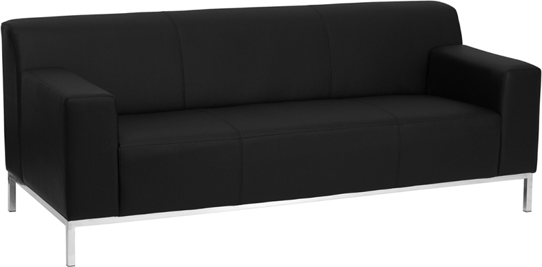 Flash Furniture - Hercules Definity Series Contemporary Black Leather Sofa  With Stainless Steel Frame - ZB-DEFINITY-8009-SOFA-BK-GG