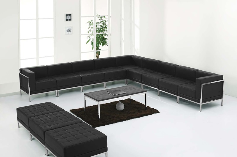 Flash Furniture - Hercules Imagination Series Black Leather Sectional &  Ottoman Set, 12 Pieces - ZB-IMAG-SET18-GG