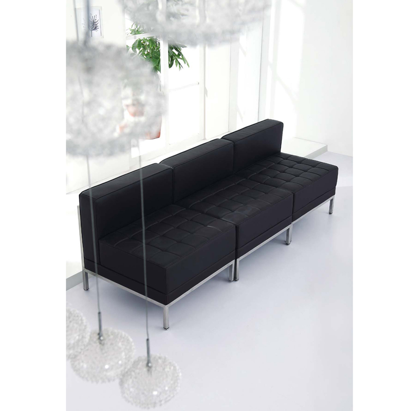 Flash Furniture Hercules Imagination Series Contemporary Black Leather Middle Chair Zb Imag Hover To Zoom