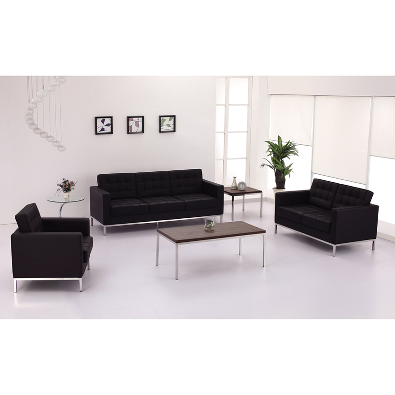 Flash Furniture - Hercules Lacey Series Contemporary Black Leather ...