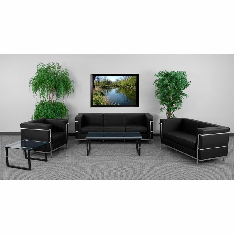 Flash Furniture Hercules Regal Series Reception Set In Black Zb