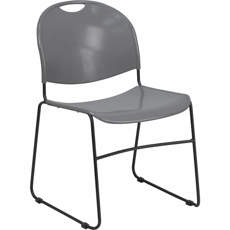 Flash Furniture Hercules Series 880 Lb Capacity Gray High Density Ultra Compact Stack Chair With Black Frame Rut 188 Gy Gg