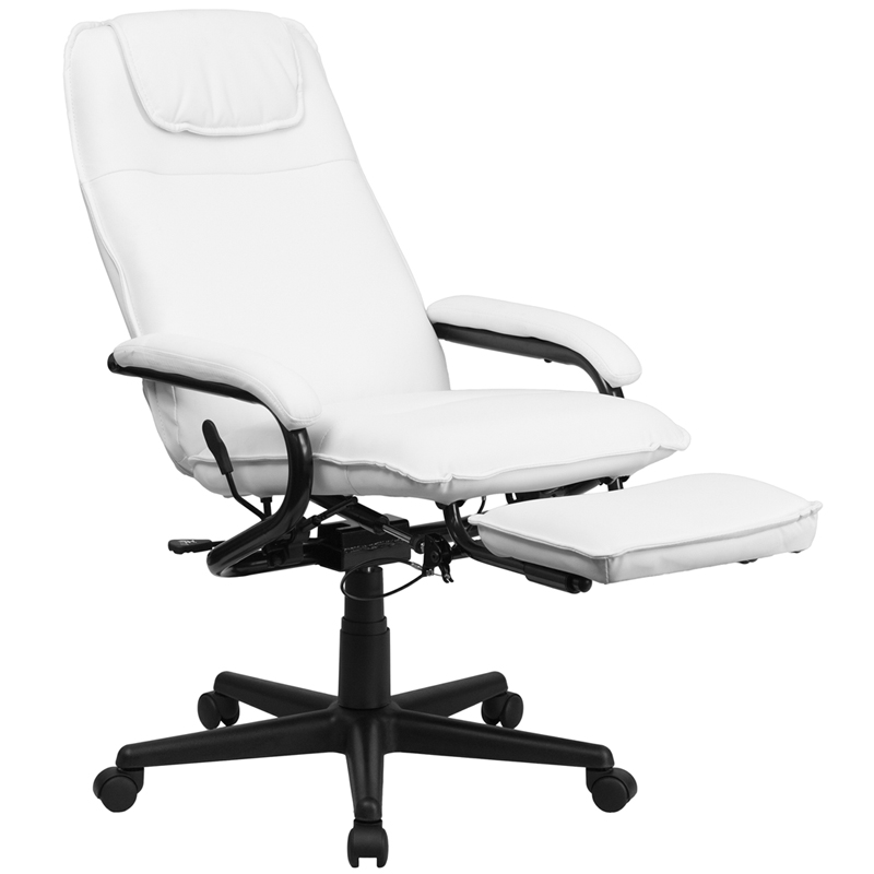 Flash Furniture - High Back White Leather Executive Reclining Office Chair  - BT-70172-WH-GG