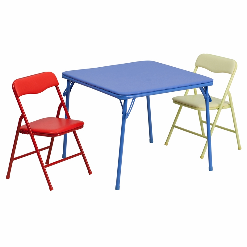 Super Flash Furniture Kids Colorful 3 Piece Folding Table And Chair Set Jb 10 Card Gg Andrewgaddart Wooden Chair Designs For Living Room Andrewgaddartcom