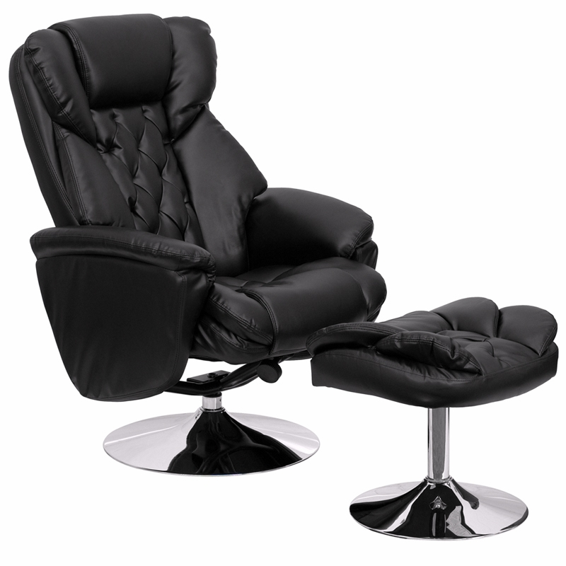 By Flash Furniture Transitional Black Leather Recliner And Ottoman With Chrome Base Bt 7807 Hover To Zoom