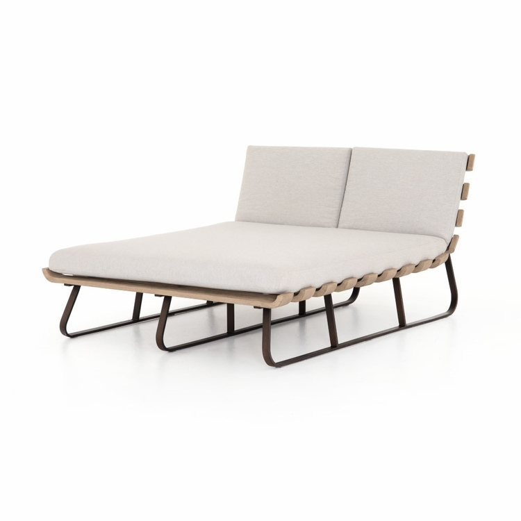 Four Hands - Dimitri Outdoor Double Chaise - Stone Grey - JSOL-053