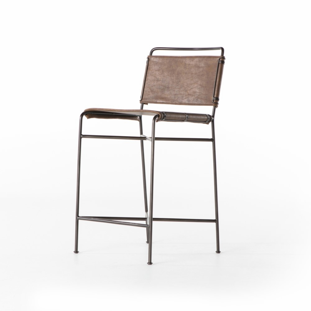 Phenomenal Four Hands Wharton Counter Stool Distressed Brown Cird 155 926 Caraccident5 Cool Chair Designs And Ideas Caraccident5Info