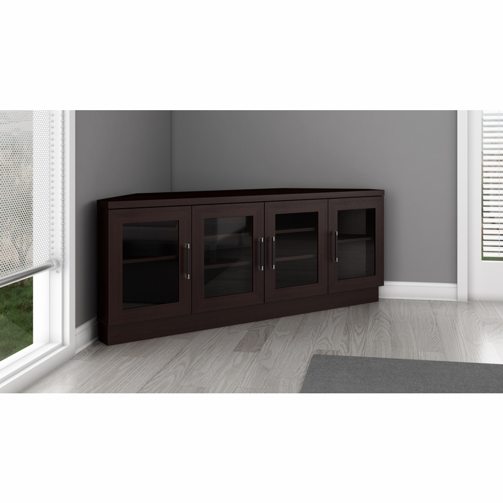 Furnitech 60 Contemporary Corner Tv Stand Media Console For Flat