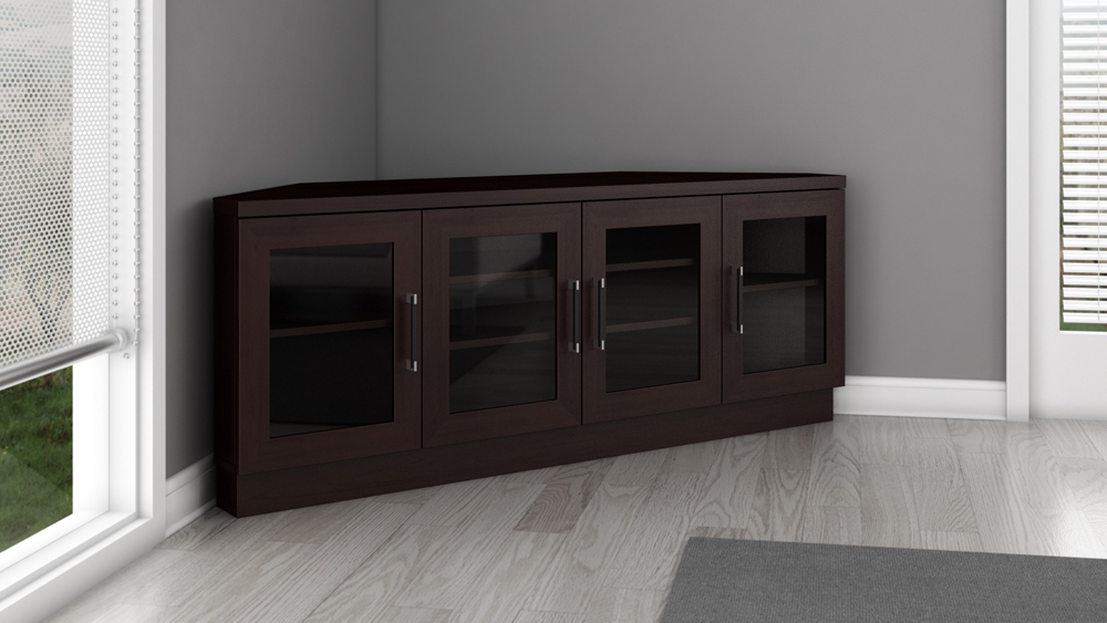 "60"" Contemporary Corner Tv Stand Media Console"