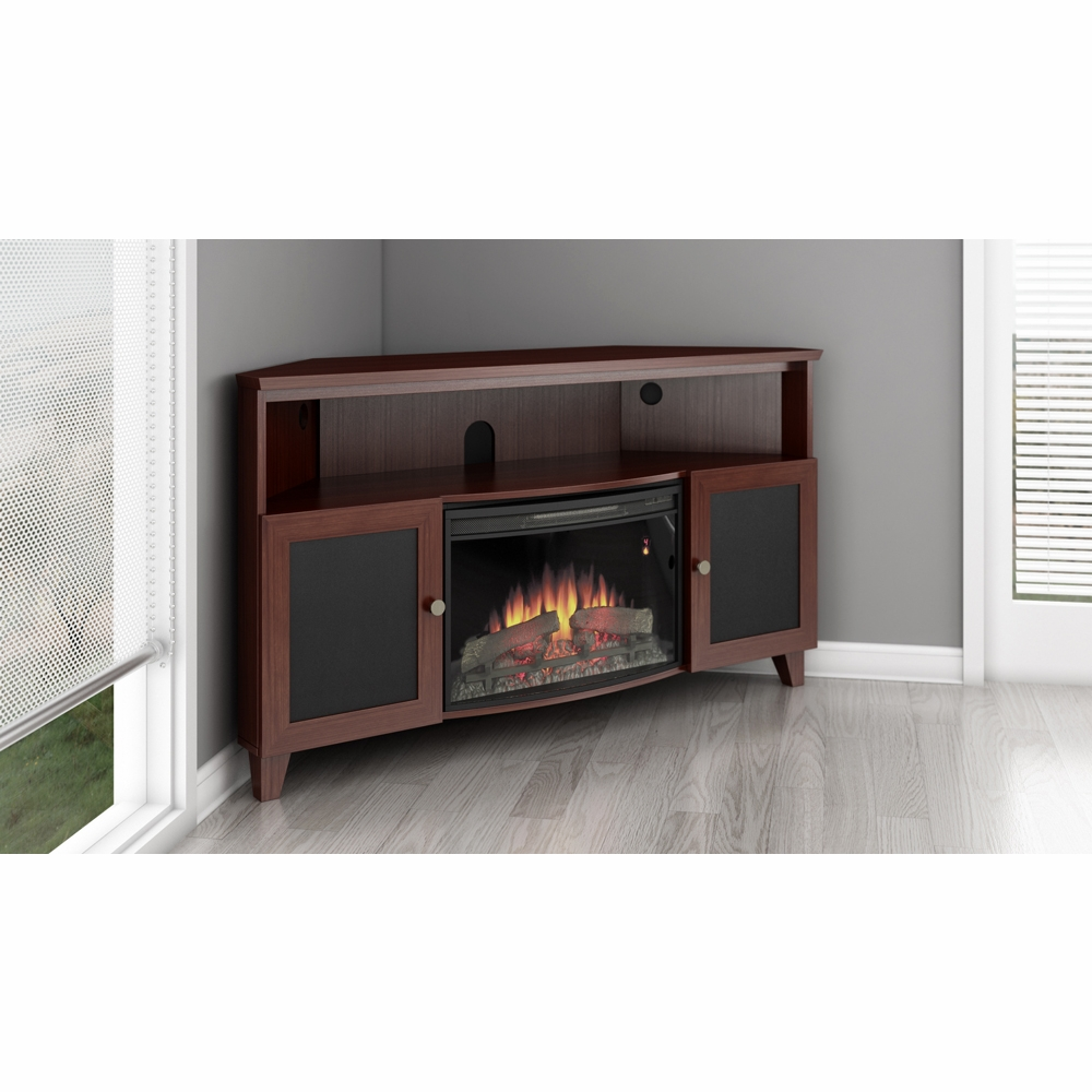 Stupendous Furnitech 60 Shaker Style Tv Corner Console With 25 Curved Electric Fireplace In A Dark Cherry Finish Ft61Sccfb Home Interior And Landscaping Oversignezvosmurscom