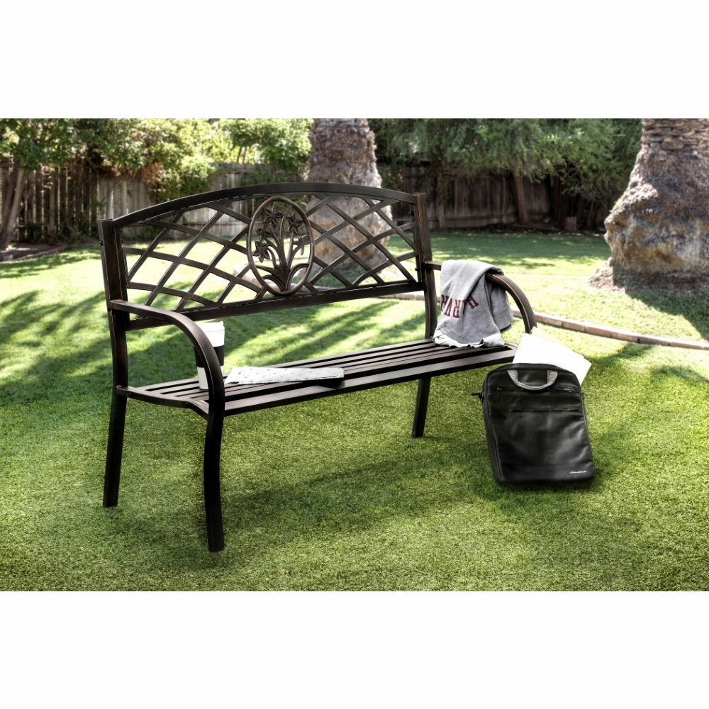 Stupendous Furniture Of America Adeah Contemporary Style Steel Finish Outdoor Patio Bench Idf Ob1809 Evergreenethics Interior Chair Design Evergreenethicsorg