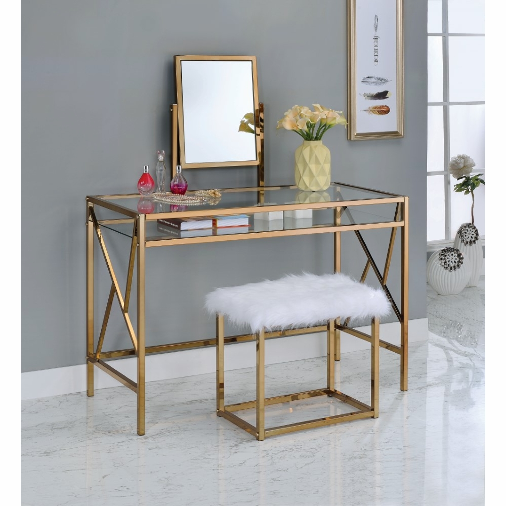 Furniture Of America Adelle Contemporary Style Vanity Table Stool Set In Champagne Idf Dk6707cpn