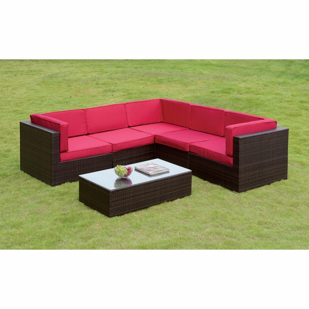 Remarkable Furniture Of America Algirra Contemporary Style Red Outdoor Patio Sectional And Coffee Table Set Idf Os2115Rd Frankydiablos Diy Chair Ideas Frankydiabloscom