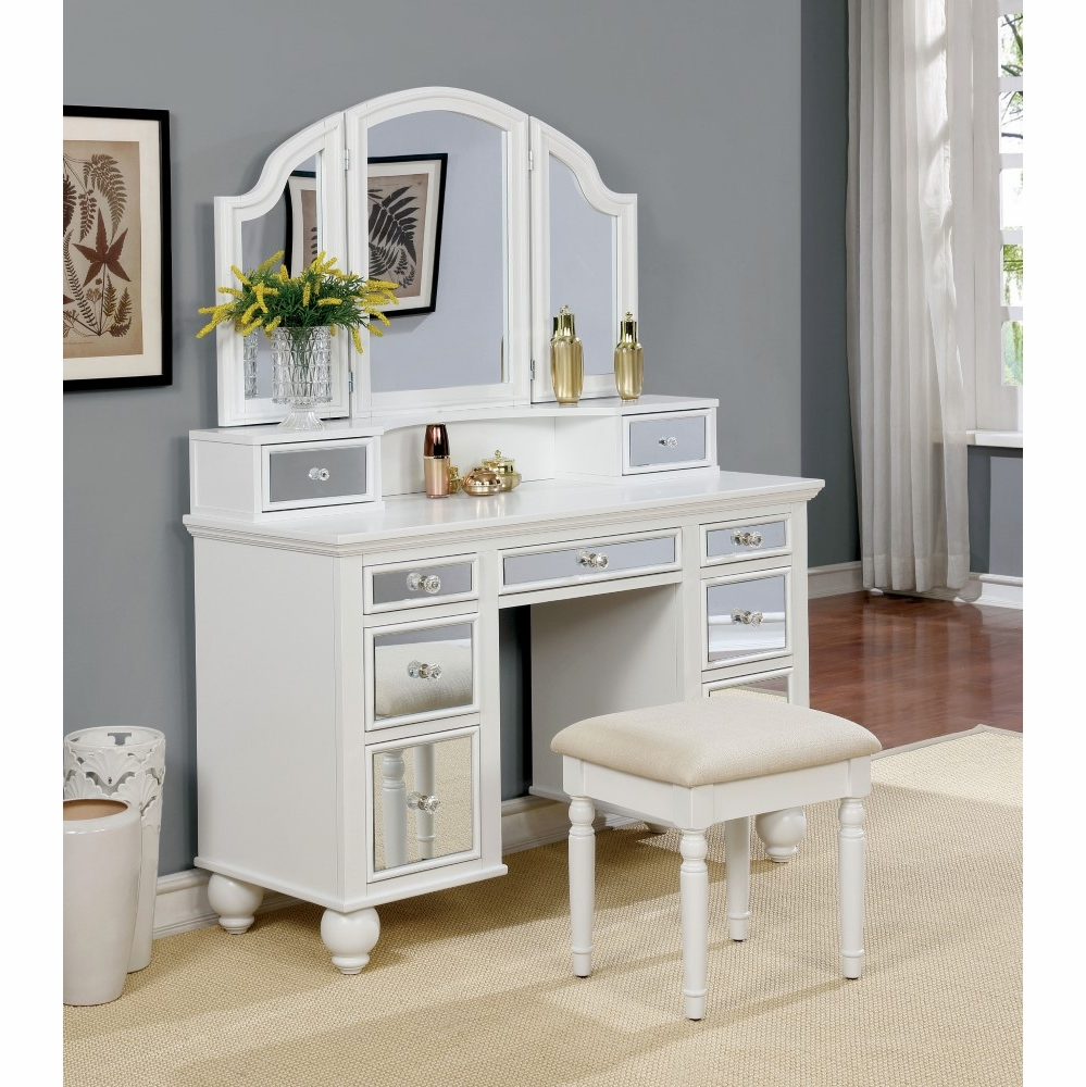 Furniture Of America Alsinna Contemporary Style Vanity Table Stool In White Idf Dk6162wh