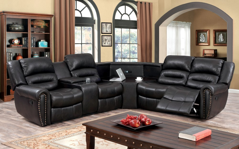 Furniture Of America Casteca Transitional Breathable Leatherette Recliner Sectional With Wedge Table Idf 6987 Sec