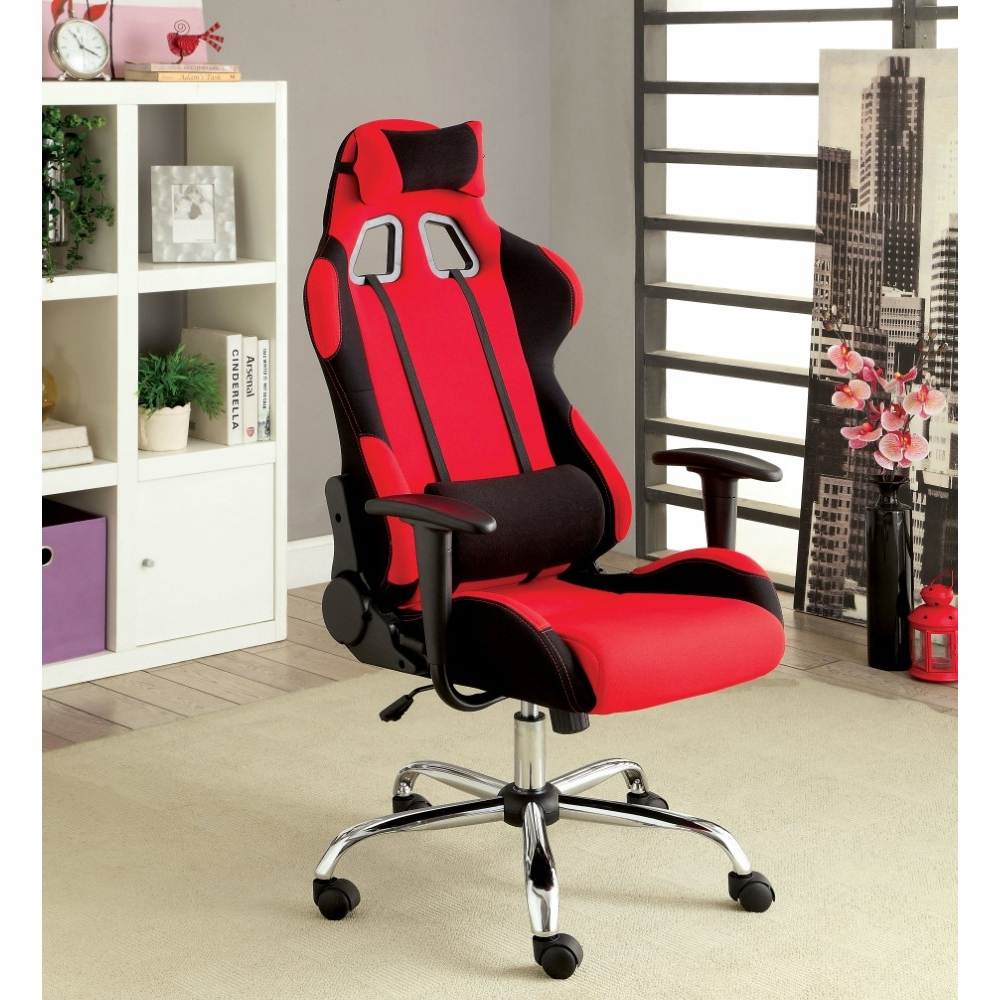 Furniture of America - Catia Contemporary Style Red Fabric Reclining Office  Chair - IDF-FC633RD