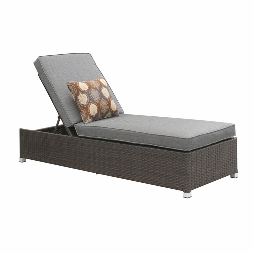 Amazing Furniture Of America Dorsy Contemporary Style Outdoor Patio Gray Chaise With Adjustable Back Idf Oc1822Gy Machost Co Dining Chair Design Ideas Machostcouk