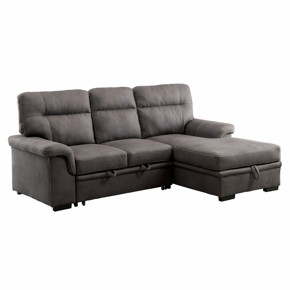 Furniture of America - Leonore Transitional Tufted Fabric Sectional Sleeper  Sofa Bed - IDF-6839-SEC