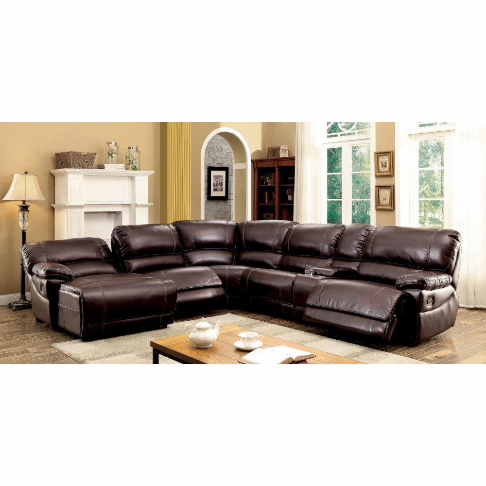 Pleasing Furniture Of America Leora Transitional Style Breathable Leatherette Recliner Sectional In Brown Idf 6131Br Sec Alphanode Cool Chair Designs And Ideas Alphanodeonline