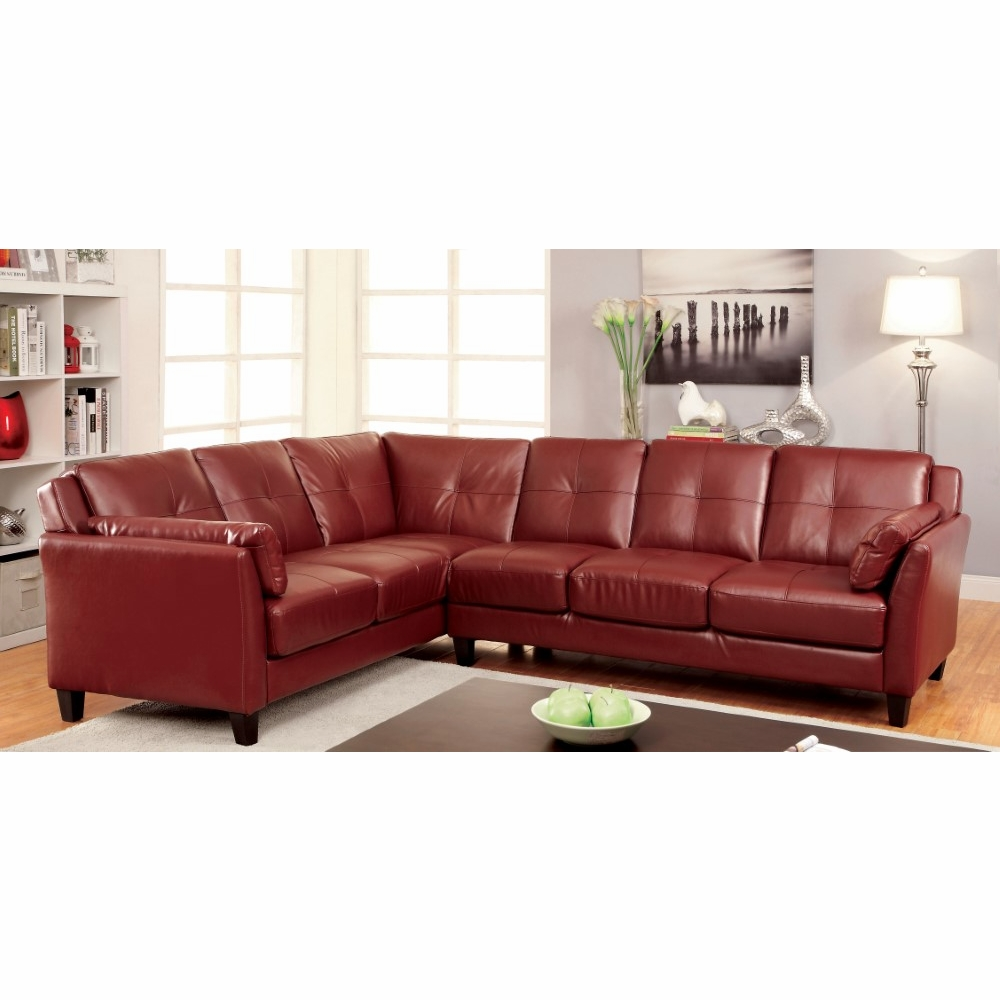 Furniture of America - Noah Contemporary Tufted Leatherette Sofa Sectional  in Red - IDF-6268RD
