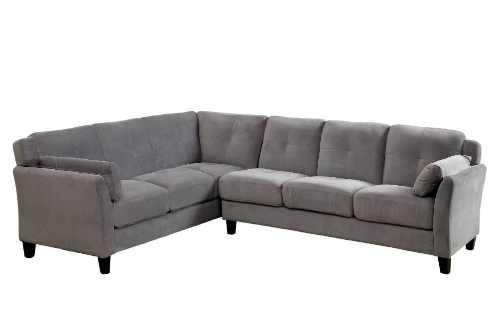 Furniture of America - Nola Contemporary Tufted Fabric Sofa Sectional in  Warm Gray - IDF-6368GY-SEC