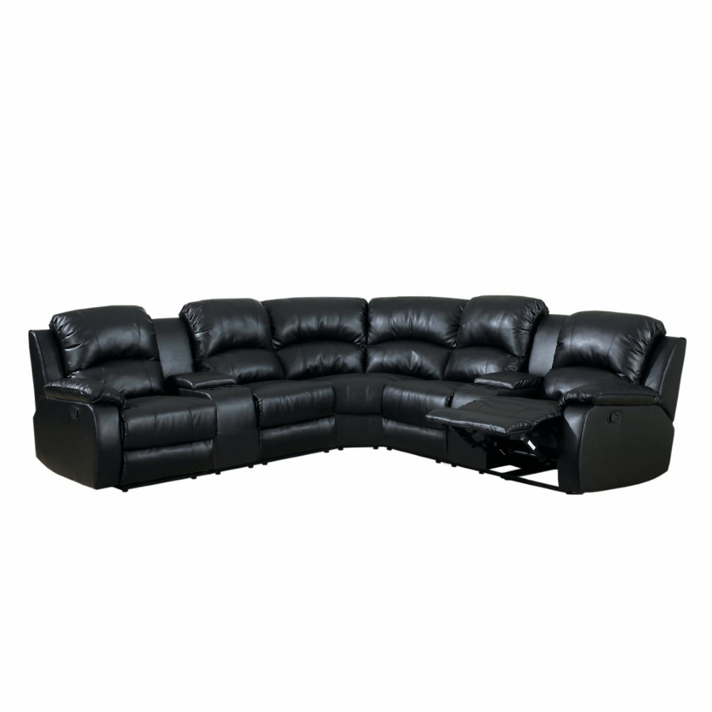 Furniture of America - Santi Contemporary Style Plush Brown Elephant Skin  Microfiber and Leatherette Sectional Recliner - IDF-6557