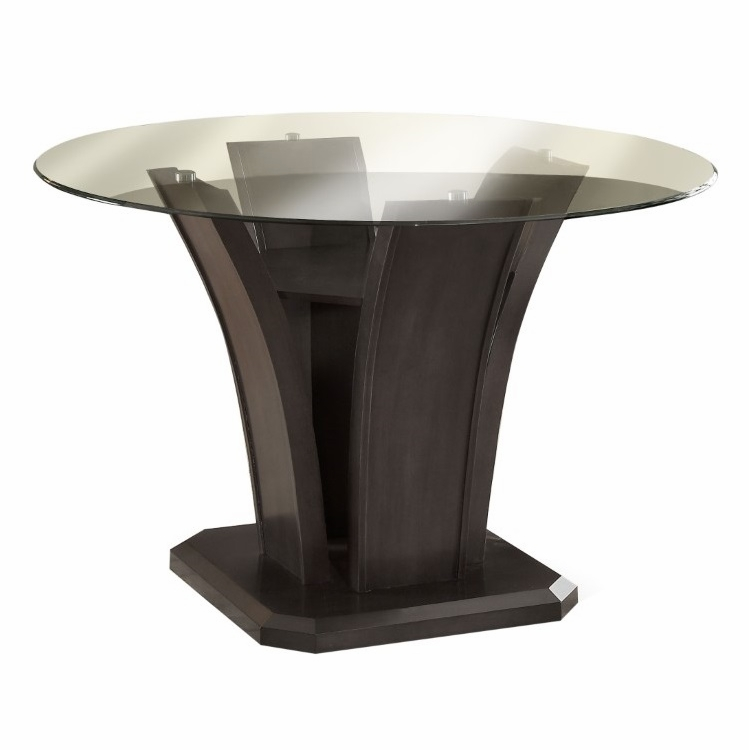 Furniture of America - Sorell Contemporary Round Glass Top Dining Table in  Dark Cherry - IDF-3710RT