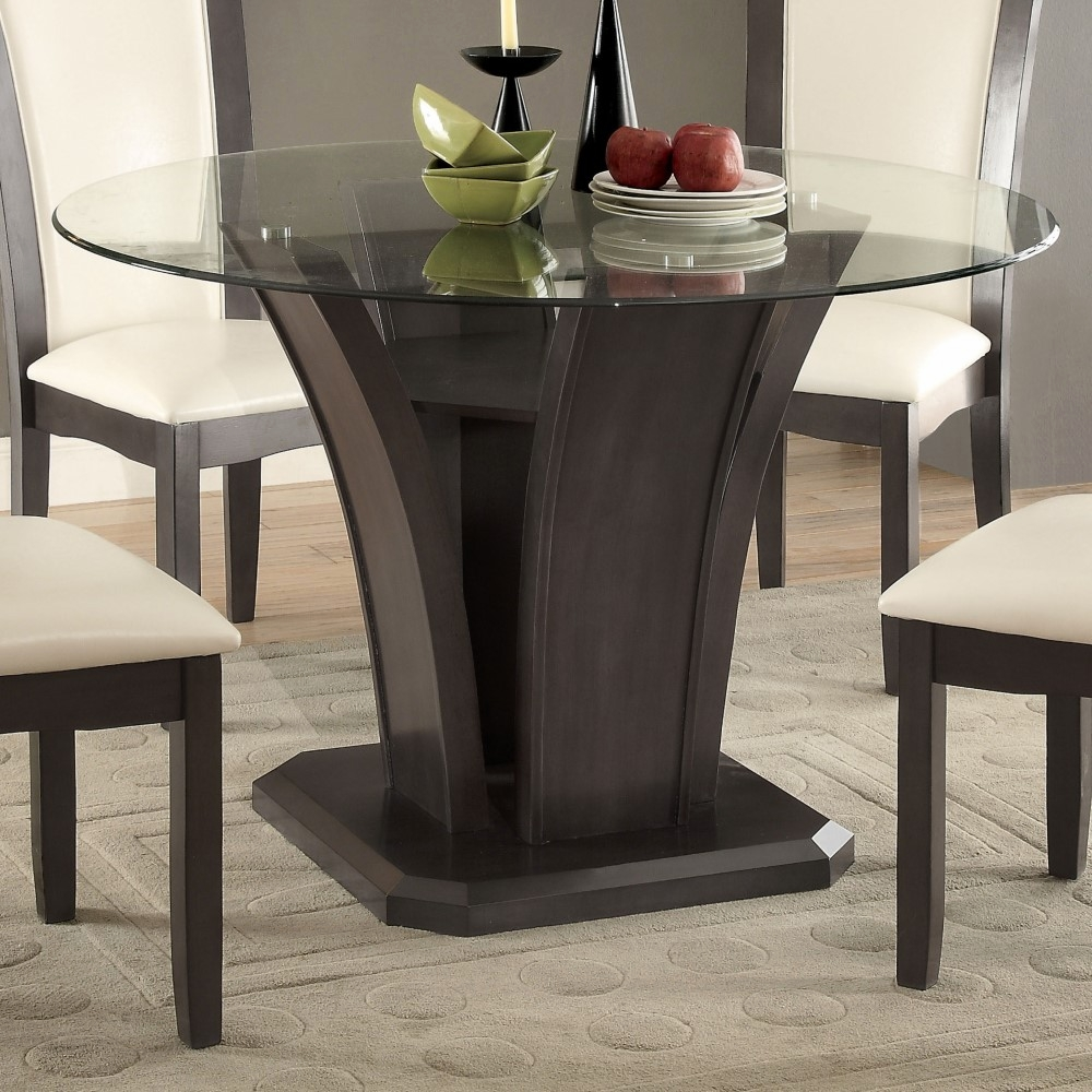 Furniture of America - Sorell Contemporary Round Glass Top Dining Table in  Gray - IDF-3710GY-RT