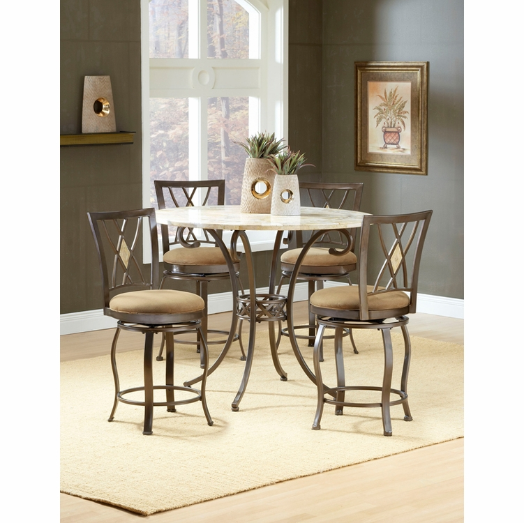 Hillsdale - Brookside 5-Piece Counter Height Dining With Brookside Diamond Stools - 4815DTBSGDM