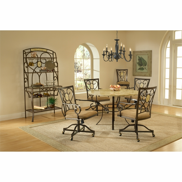 Hillsdale - Brookside 5-Piece Round Dining Set With Oval Back Caster Chairs - 4815DTRNBCOVC