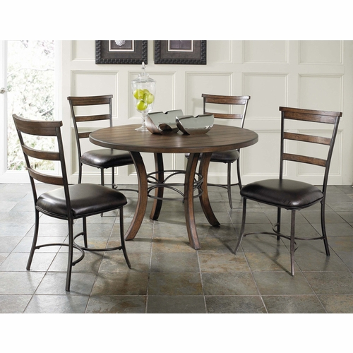 Hillsdale - Cameron 5-Piece Round Wood Base Dining Set w/Ladder Back Chairs - 4671DTBWC5