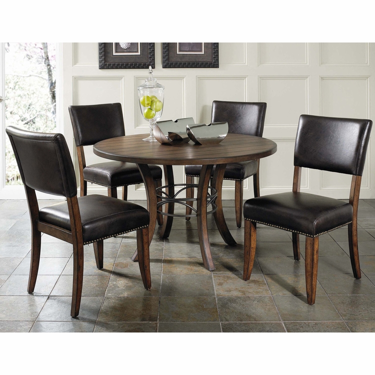 Hillsdale - Cameron 5-Piece Round Wood Base Dining Set w/Parson Chairs - 4671DTBWC4