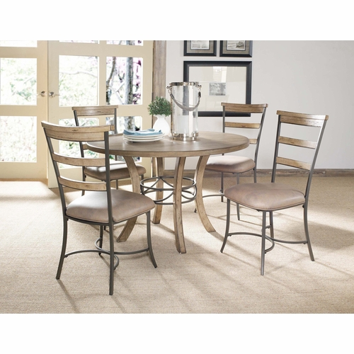 Hillsdale - Charleston 5-Piece Round Wood Base Dining Set w/Ladder Back Chair - 4670DTBWC5