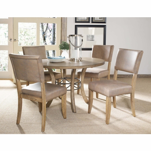 Hillsdale - Charleston 5-Piece Round Wood Base Dining Set w/Parson Chair - 4670DTBWC4