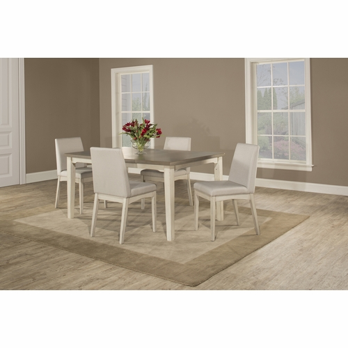 Hillsdale - Clarion 5 Piece Rectangle Dining Set With Upholsted Chairs Sea White - 4542DT5C3