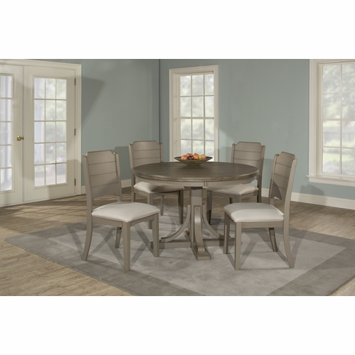 Hillsdale - Clarion 5 Piece Round Dining Set With Side Chairs Distressed Gray - 4541DTB5C2