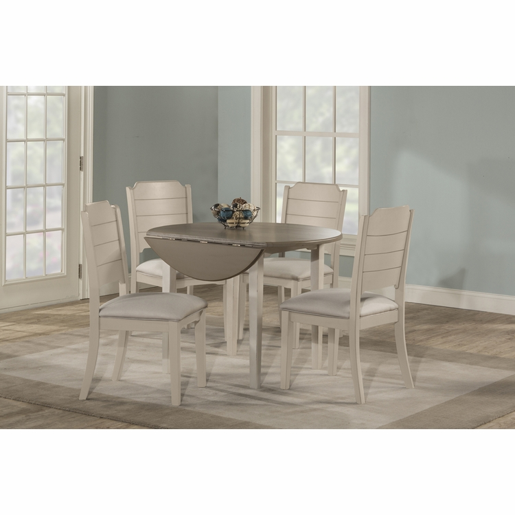Hillsdale - Clarion 5 Piece Round Drop Leaf Dining Set With Side Chairs Sea White - 4542DTB5C2
