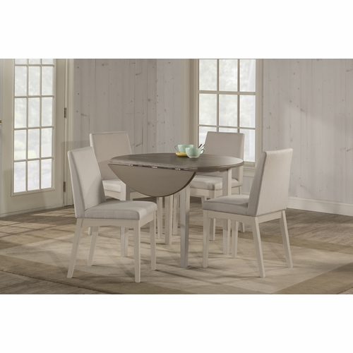 Hillsdale - Clarion 5 Piece Round Drop Leaf Dining Set With Upholstered Chairs Sea White - 4542DTB5C3