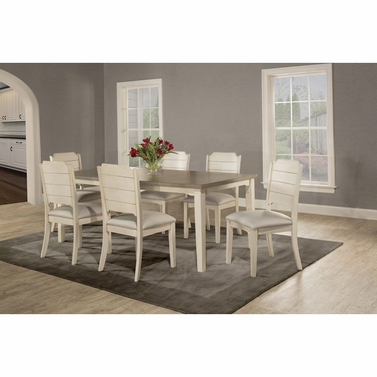 Hillsdale - Clarion 7 Piece Rectangle Dining Set With Side Chairs Sea White - 4542DT7C2