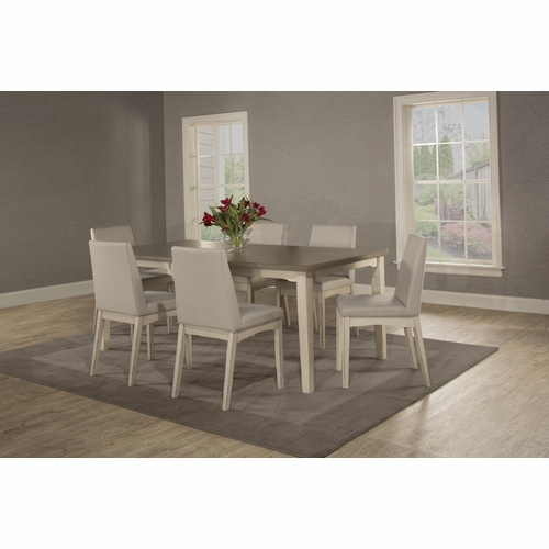 Hillsdale - Clarion 7 Piece Rectangle Dining Set With Upholsted Chairs Sea White - 4542DT7C3