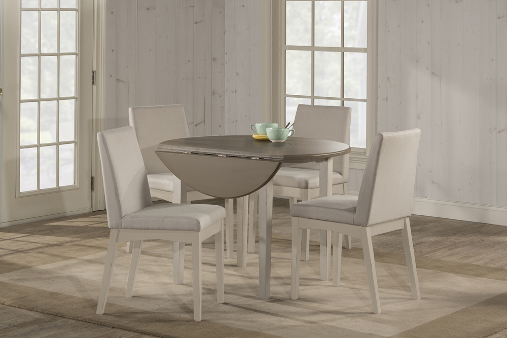 Hillsdale Clarion Round Drop Leaf Dining Table Sea White 4542 810