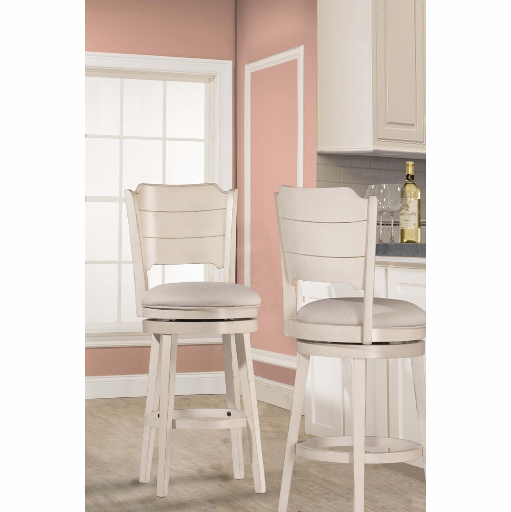 Hillsdale Clarion Swivel Counter Stool Sea White Wood
